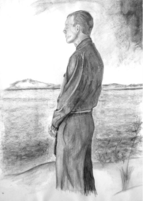 Sailor Greeting Card featuring the drawing Sailor Reflecting Before Heading Out To Sea by Russ Smith