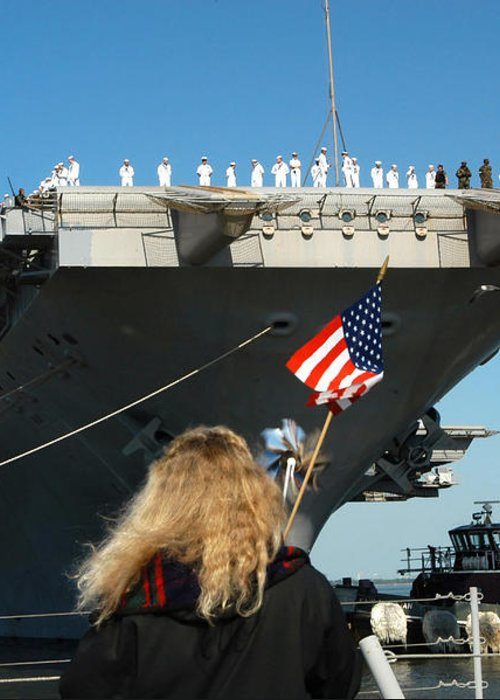Color Image Greeting Card featuring the photograph Sailors Aboard Aircraft Carrier Uss by Stocktrek Images