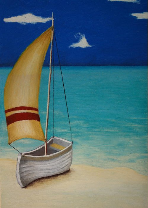 Boat Greeting Card featuring the pastel Sailors Solitude by Amanda Clark