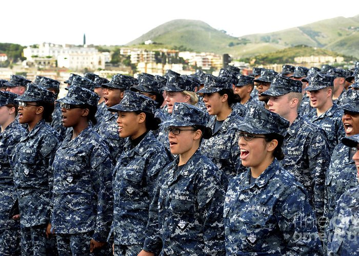 Ethnicity Greeting Card featuring the photograph Sailors Yell Before An All-hands Call by Stocktrek Images