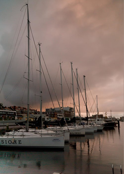 Harbour Greeting Card featuring the photograph Sails In Pink by Davina Scheper