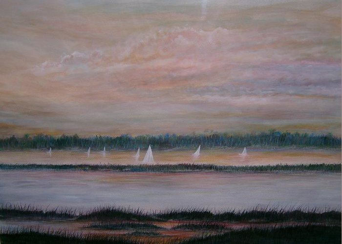 Sailboats; Marsh; Sunset Greeting Card featuring the painting Sails In The Sunset by Ben Kiger