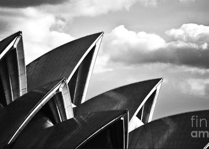 Sydney Opera House Monochrome Black And White Icon Greeting Card featuring the photograph Sails Of Sydney Opera House by Sheila Smart Fine Art Photography