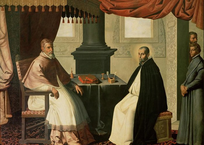 Bruno Greeting Card featuring the painting Saint Bruno And Pope Urban II by Francisco de Zurbaran