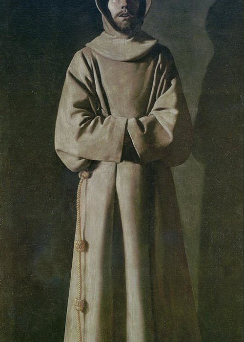 Francis Greeting Card featuring the painting Saint Francis by Francisco de Zurbaran