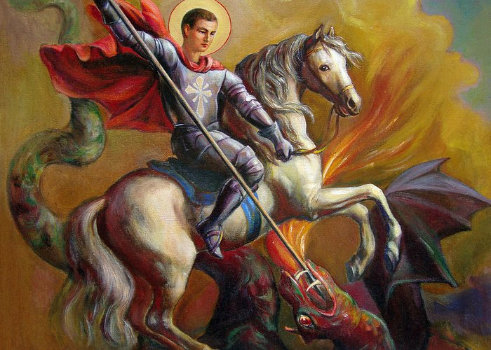 Saint George Greeting Card featuring the painting Saint George And The Dragon by Svitozar Nenyuk