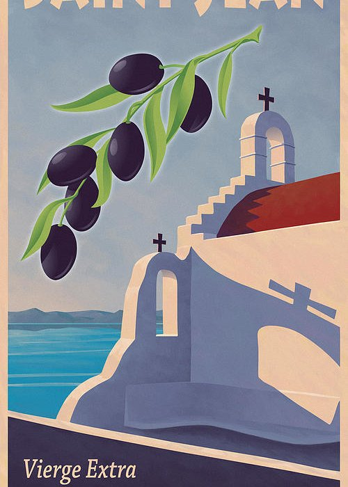 Retro Greeting Card featuring the painting Saint Jean Olive Oil by Mitch Frey