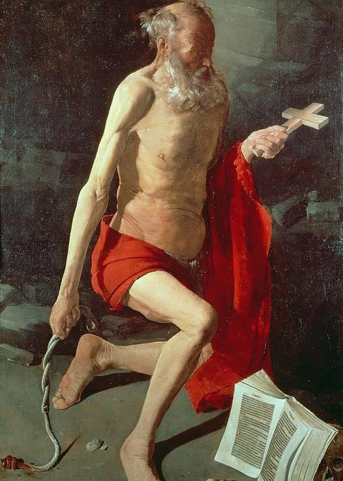 Jerome Greeting Card featuring the painting Saint Jerome by Georges de la Tour