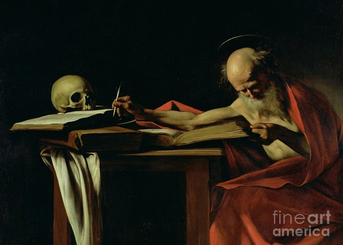 St Jerome Writing Greeting Card featuring the painting Saint Jerome Writing by Caravaggio