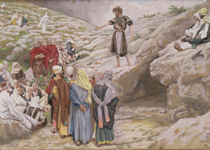 John Greeting Card featuring the painting Saint John The Baptist And The Pharisees by Tissot