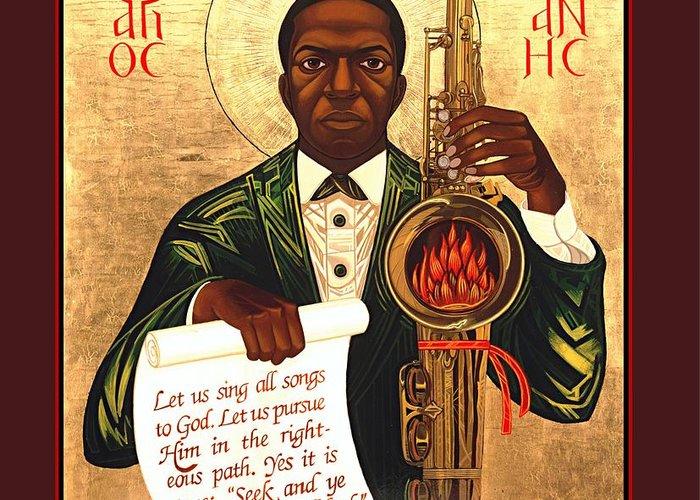 Saint John Coltrane. Black Christ Religion Greeting Card featuring the painting Saint John The Divine Sound Baptist by Mark Dukes