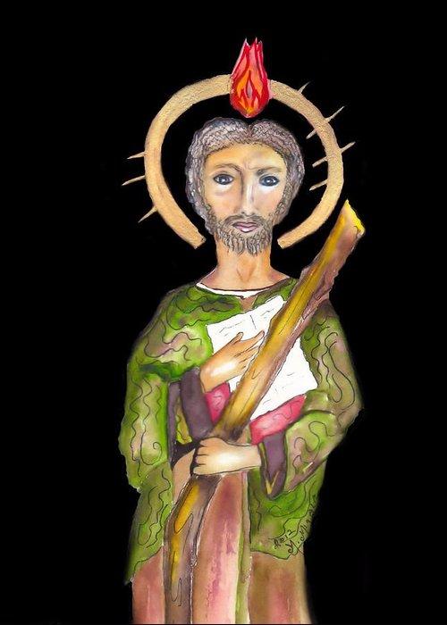 Catholic Saint Greeting Card featuring the painting Saint Jude by Myrna Migala