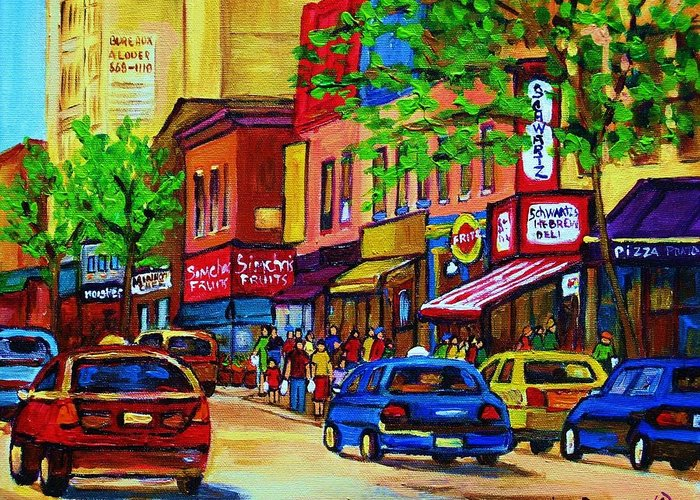Cityscape Greeting Card featuring the painting Saint Lawrence Street by Carole Spandau