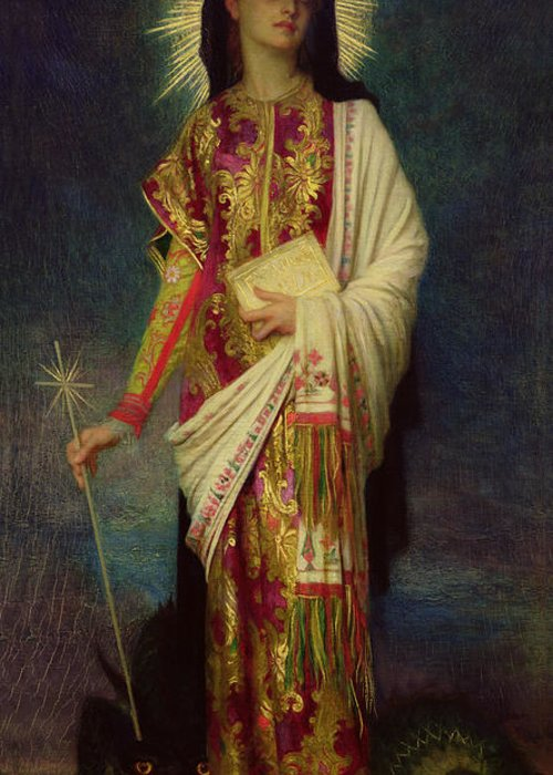 Margaret Greeting Card featuring the painting Saint Margaret Slaying The Dragon by Antoine Auguste Ernest Herbert