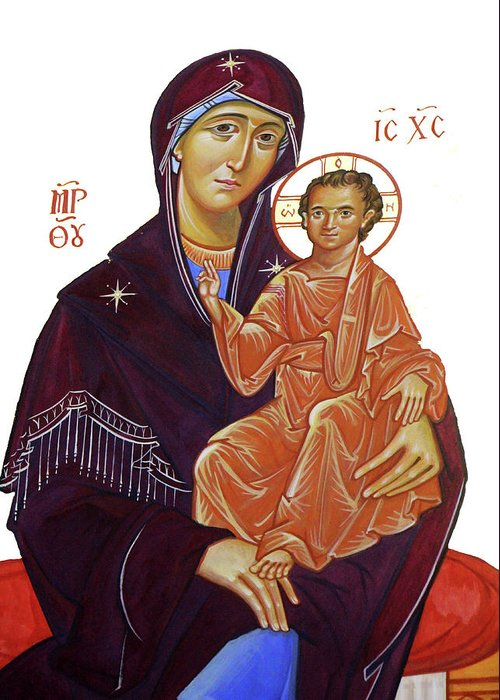 Byzantine Art Greeting Card featuring the photograph Saint Mary With Baby Jesus by Munir Alawi