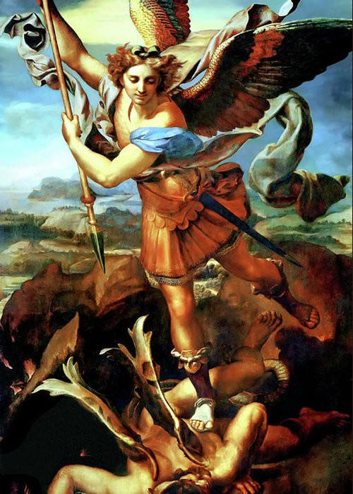 Raphael Greeting Card featuring the painting Saint Michael Overthrowing The Demon by Raphael