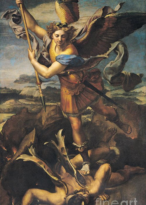 Michael Greeting Card featuring the painting Saint Michael Overwhelming The Demon by Raphael