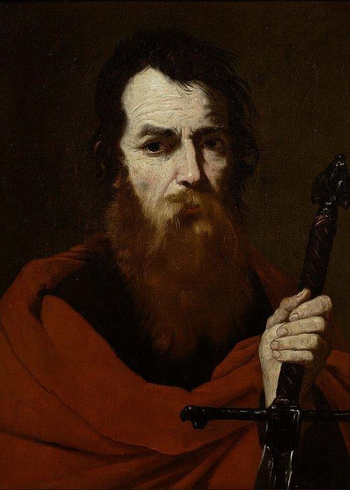 Paul Greeting Card featuring the painting Saint Paul by Jusepe de Ribera