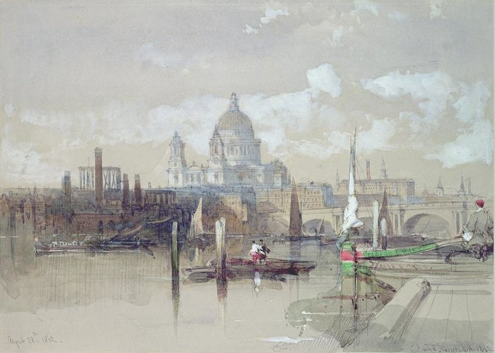 Pauls Greeting Card featuring the painting Saint Pauls From The River by David Roberts