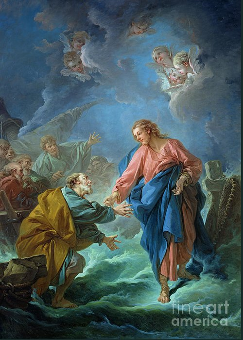Peter Greeting Card featuring the painting Saint Peter Invited To Walk On The Water by Francois Boucher