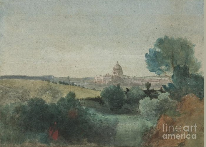 Saint Peter Seen From The Campagna Greeting Card featuring the painting Saint Peter's Seen From The Campagna by George Snr Inness