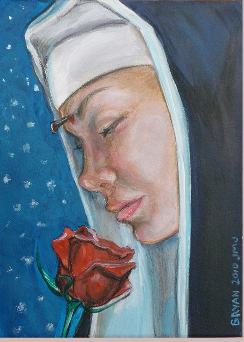 Saint Rita Greeting Card featuring the painting Saint Rita of Cascia by Bryan Bustard