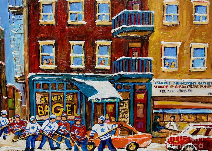 Montreal Greeting Card featuring the painting Saint Viateur Bagel With Hockey by Carole Spandau