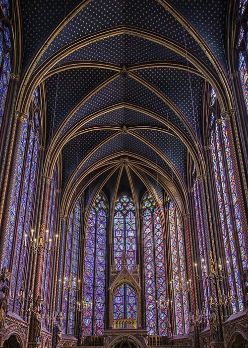 Joan Carroll Greeting Card featuring the photograph Sainte Chapelle Stained Glass Paris by Joan Carroll