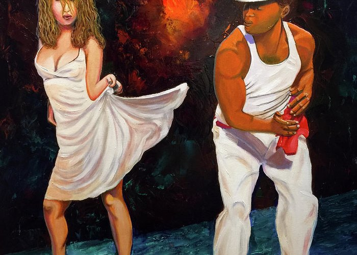 Dancing Cuba Painting Salsa Woman Greeting Card featuring the painting Salsa 2 by Jose Manuel Abraham