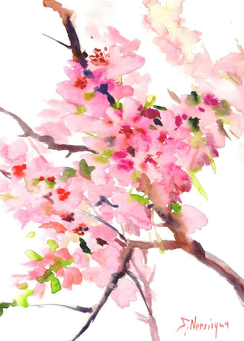 Pink Blossoms Drawings Greeting Cards
