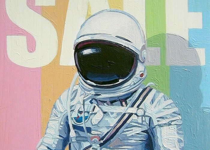 Astronaut Greeting Card featuring the painting Sale by Scott Listfield