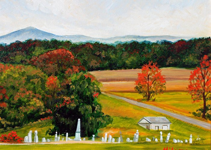 Landscape Greeting Card featuring the painting Salem Cemetery In October by Hilary England