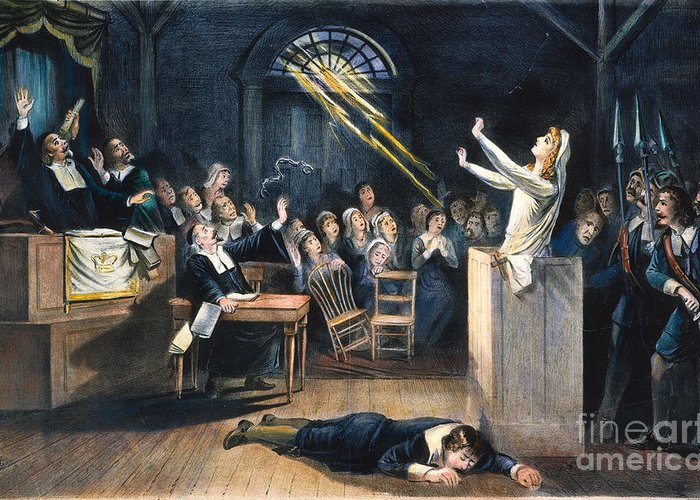 1692 Greeting Card featuring the photograph Salem Witch Trial, 1692 by Granger