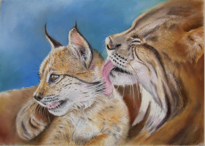 Iberian Lynx Greeting Card featuring the painting Saliega Y Brezo by Ceci Watson