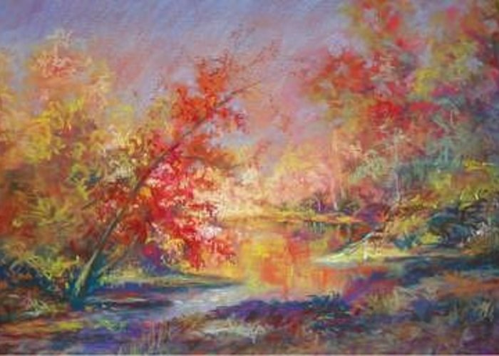 Landscape In Autumn Greeting Card featuring the painting Saline River View by Marlene Gremillion