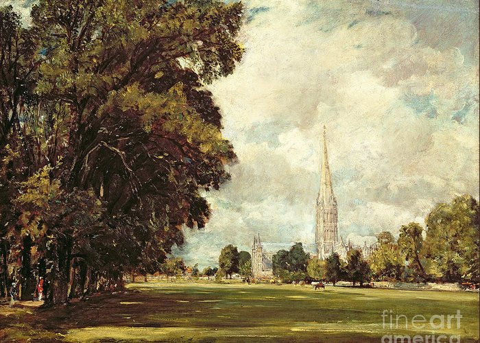 Church Greeting Card featuring the painting Salisbury Cathedral From Lower Marsh Close by John Constable