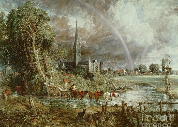 Salisbury Greeting Card featuring the painting Salisbury Cathedral From The Meadows by John Constable
