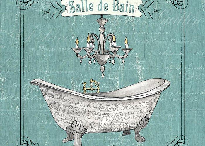 Bath Greeting Card featuring the painting Salle De Bain by Debbie DeWitt