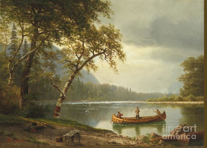 Landscape; Rural; Countryside; Canadian; Fishermen; Boat; Leisure; Calm; Peaceful; Kayak; Camp; Campfire; Fire; Kettle; Scenic; Riverbank Greeting Card featuring the painting Salmon Fishing On The Caspapediac River by Albert Bierstadt