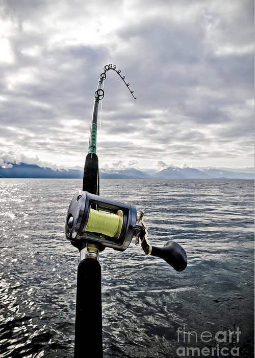 Abstract Greeting Card featuring the photograph Salmon Fishing Rod by Darcy Michaelchuk