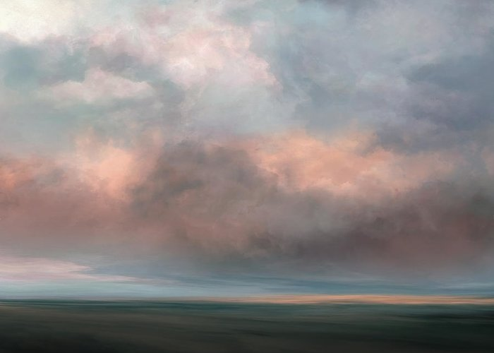 Lc Bailey Greeting Card featuring the mixed media Salmon Sky by Lonnie Christopher