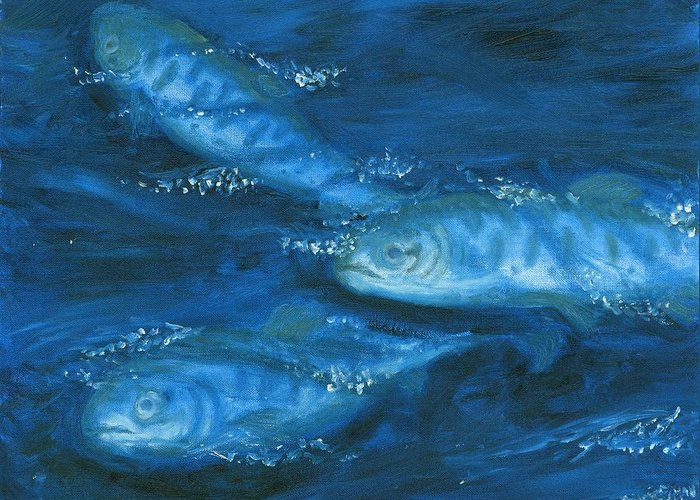 Salmon Swimming Greeting Card featuring the painting Salmon Swimming by Tanna Lee M Wells