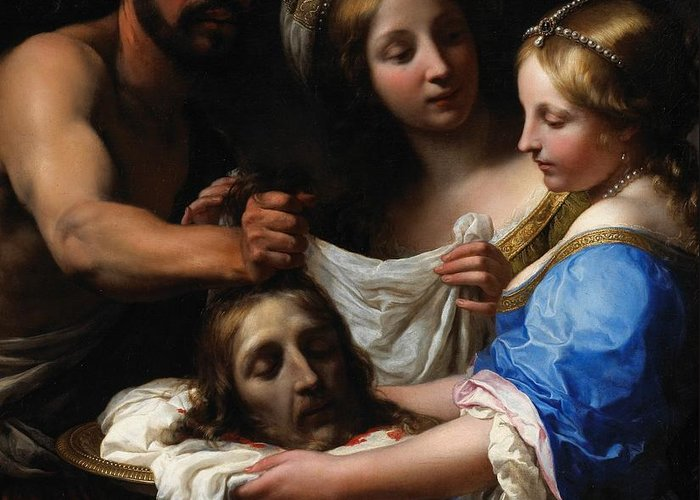 Head Greeting Card featuring the painting Salome With The Head Of Saint John The Baptist by Onorio Marinari