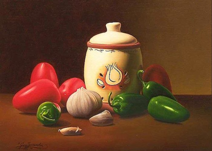 Still Life Greeting Card featuring the painting Salsa by Gary Hernandez