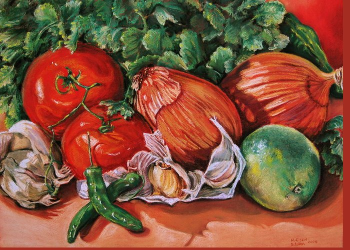 Outre Art Greeting Card featuring the painting Salsa by Outre Art Natalie Eisen