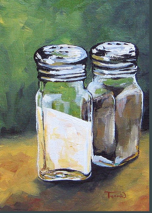 Salt Greeting Card featuring the painting Salt And Pepper I by Torrie Smiley