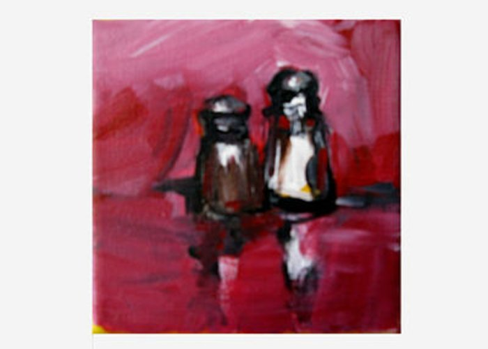 Salt Shaker Greeting Card featuring the painting Salt And Pepper In Pink by Michelle Winnie