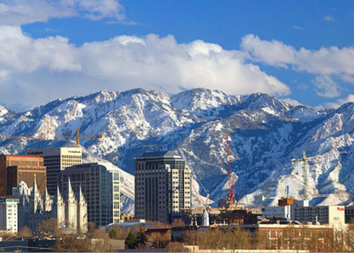 Salt Greeting Card featuring the photograph Salt Lake City Skyline by Utah Images