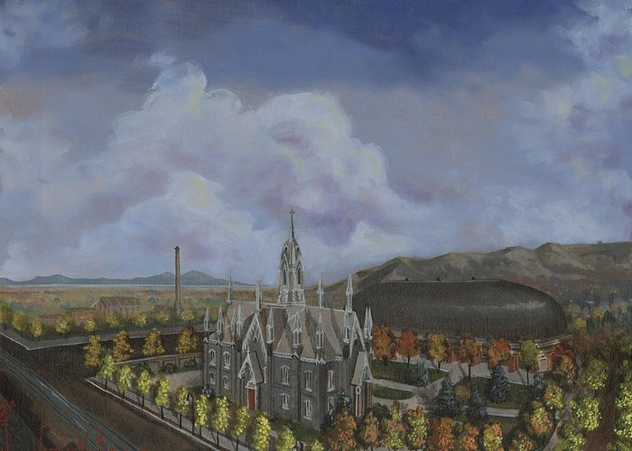 Temple Greeting Card featuring the painting Salt Lake City Temple Square Nineteen Twelve Left Panel by Jeff Brimley