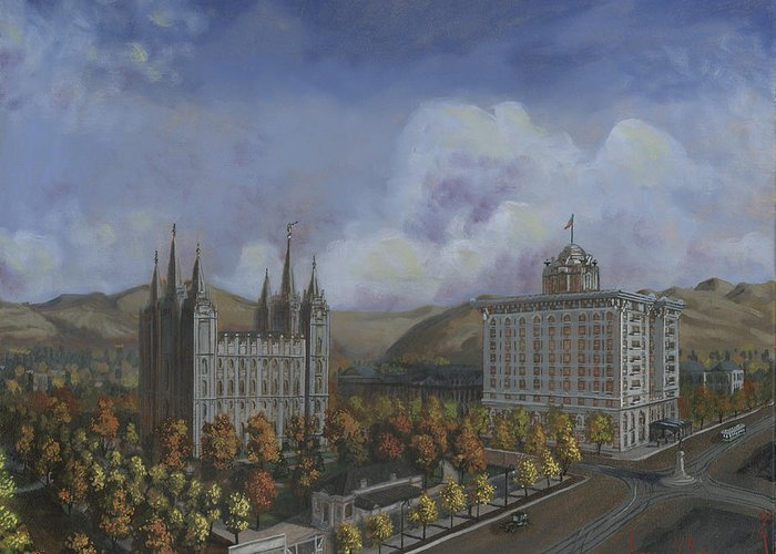 Temple Greeting Card featuring the painting Salt Lake City Temple Square Nineteen Twelve Right Panel by Jeff Brimley